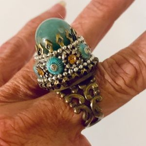 Vintage Embellished Ollipop Statement Adj Ring
